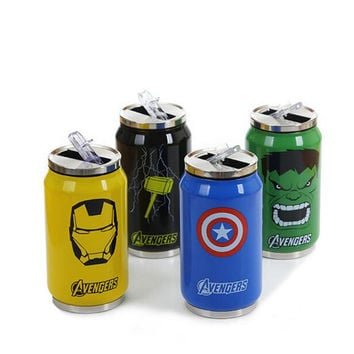 New Arrive Avengers Stainless Steel Vacuum Cup 300ml/450ml Straw Thermos Mug Thermal Water Bottle Tumbler Thermocup Thermomug