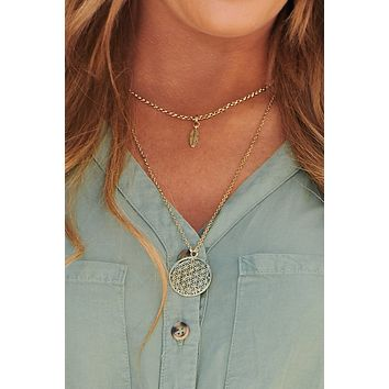 Leaf Me Out Of It Layered Necklace (Antique Gold)