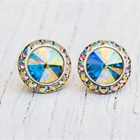 Pastel Aurora Borealis Swarovski Crystal Earrings