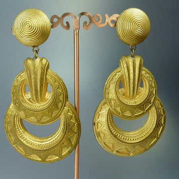 Huge Scooter Paris Egyptian Revival Clip Earrings Vintage Statement Jewelry 4 inch