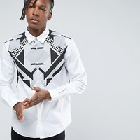 Versace Jeans Shirt With Chest Print In Slim Fit at asos.com