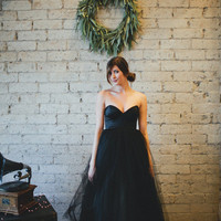 Black Floor Length Strapless Gallery Gown by Ouma