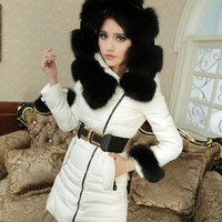 Winter fox fur collar white duck down coat ghl3438