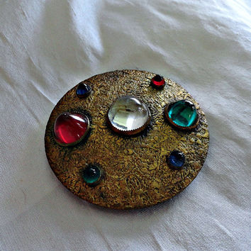 Vintage Buckle Art Deco Ben Meltzer Jeweled Round 1930s