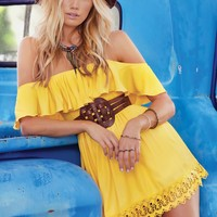 Designer Yellow Lace Dress