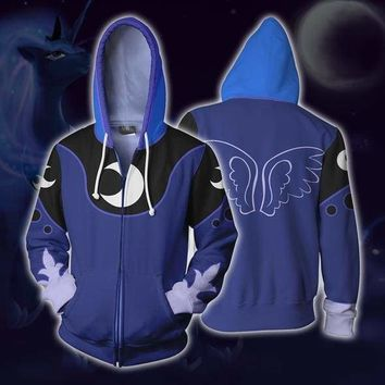 Rainbow Dash Princess Luna Hoodies Cosplay Costumes 3D Print Hoodie Sweatshirt Mens Women