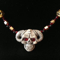"Ram's Horned Skull Glowing Eyes Beaded Necklace - 15"" -  Black, & Red Gold - Gold Skulls - demon - devil - goth"