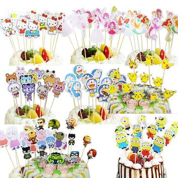 12pcs/lot Kitty Minions Theme Happy Birthday Cupcake Topper Flags Baby Shower Kids Birthday Party Cake Decor Party Supplies