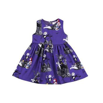 Brand New Lovely Children Baby Girls Ghost Print Sleeves Dress Sleeves Halloween Cute Dress Party Formal Dresses 2 to 7Y