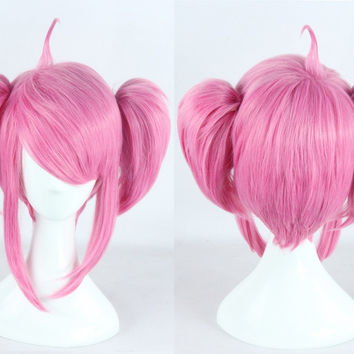 Heat Resistant Anime League of Legends Star Guardian LUX LOL  Costume Full Lace Cosplay Wig +Free Wig CAP