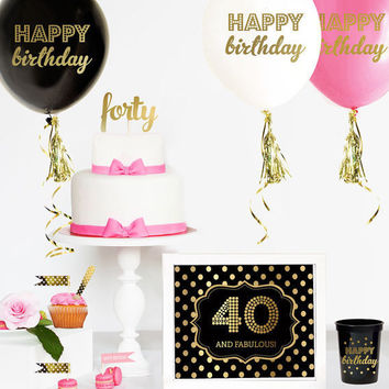 40th Birthday Cake Topper - 40 Cake Topper  - 40th Birthday Party Ideas -  40th Birthday Decorations - Forty CAKE TOPPER - 40th Card - Gift