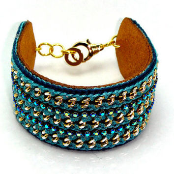Treasure Chest  Designer bracelet with Chain Thread  and Leather by GetShackled