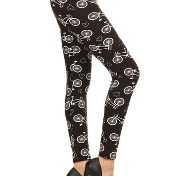 Women's Bike Leggings Bicycles and Hearts Black/White: OS/PLUS