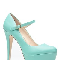 Mint Mary Jane Platform Pumps @ Cicihot Heel Shoes online store sales:Stiletto Heel Shoes,High Heel Pumps,Womens High Heel Shoes,Prom Shoes,Summer Shoes,Spring Shoes,Spool Heel,Womens Dress Shoes