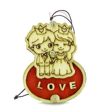 Cute Prince Princess Love Couple Lucky Charm Protection Power Wooden Car Charm Home Decor Blessing