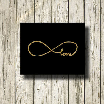 INFINITY  Love Symbol Love Black Gold Print Printable Instant Download Art Print Wall Art Home Decor G091black