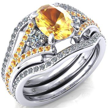 Arietis Oval Yellow Sapphire Diamond Sides 3/4 Eternity Accent Yellow Sapphire Ring