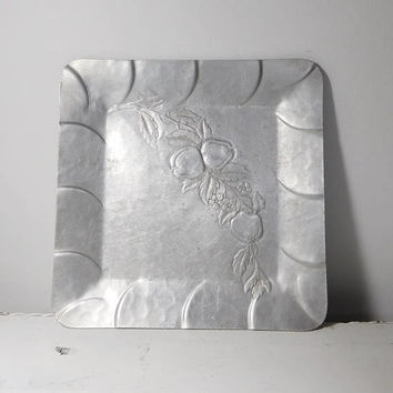 Large Square Silver Tray Hand Forged Everlast Metal Signed Makers Mark 40s 50s Tin Flower n Berry Pattern Serving Tray Drinks Candles Retro