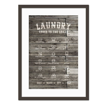 Laundry Symbols - Rustic Laundry Room Poster - Wash Dry - Typography Poster - Laundry Room Art - Laundry Procedures Sign - Wood Background