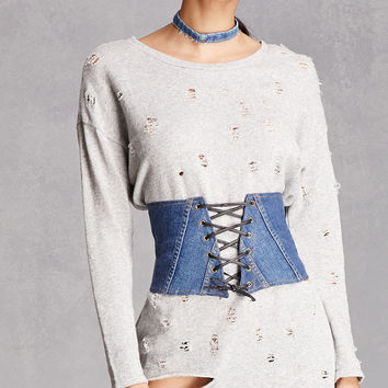 Lace-Up Denim Corset
