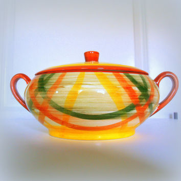 VINTAGE RETRO PLAID Soup Tureen - Fabulous Mid Century Kitchen Serving Bowl with Lid - Yellow - Green - Orange - Vernonware Homespun Pattern