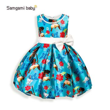 Gril Dress Summer Style Dream Tropical Ocean Dress Moana Dresses Infant Baby Girls Clothing Costume Children Party Princes Dress