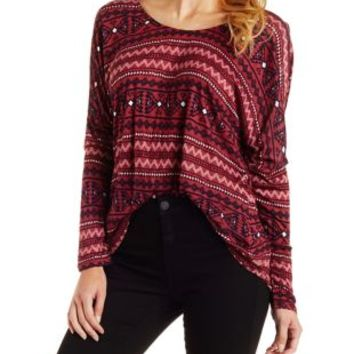 Taupe Combo Lace-Back Printed Long Sleeve Top by Charlotte Russe