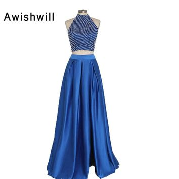 Fashionable Blue Prom Dresses Long Beading Pearls Satin Halter Evening Party Dress For Women Sleeveless 2 Piece Pageant Gowns