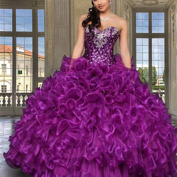 2016 Purple Cheap Quinceanera Dresses With Jacket Sweethert Crystals Orgabza Ball Gown Vestidos De 15 Anos Sweet 16 Dresses