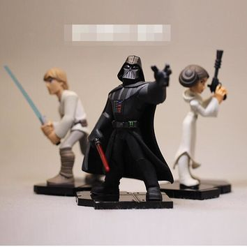Star Wars Force Episode 1 2 3 4 5 high quality  figure toys Darth Vader Luke Skywalker Princess Leia Figures Toy Model Doll for collection gifts 8-10cm AT_72_6