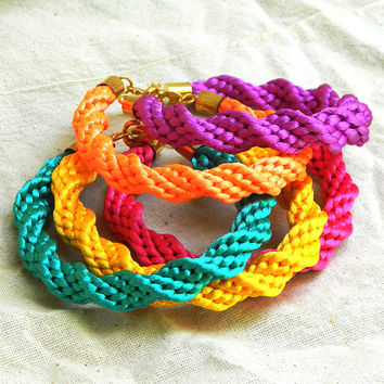 Shiny rainbow stackable Kumihimo bracelets satin cord summer jewelry READY TO SHIP