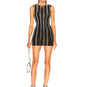 BALMAIN Striped Sequin Sleeveless Mini Dress in Black & Holographic Silver | FWRD