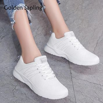 Golden Sapling Ladies Sport Shoes Breathable Air Mesh Women's Sneakers Lace Up White Sneakers Women Trainers Tennis Shoes Woman
