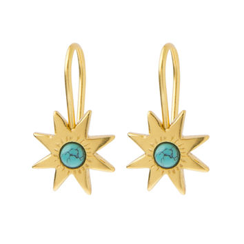 Afghan Turquoise Star Earrings