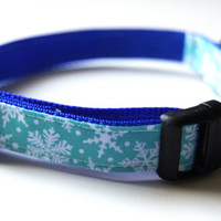 Blue Snowflake Holiday Dog Collar Adjustable Sizes (XS, S, M)