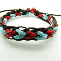 Soft Leather and cotton ropes Woven Women's Leather Cuff Bracelet, Women's Ropes Bracelet 598A