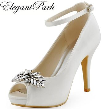 HP1544 White IvoryWoman Wedding Shoes High Heel Platform Ankle Strap Crystal Buckle Satin Ladies Bride Bridal Evening Prom Pumps