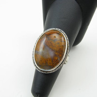 Plume Agate Gemstone Sterling Silver Statement Ring Size 7.5 Ready To Ship Gifts Sterling Silver Gemstone Ring Handmade Metalwork Jewelry