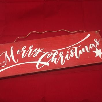 MERRY CHRISTMAS wooden sign. Retro-Rustic w/script Lettering