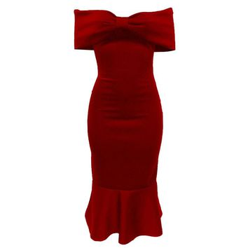 Women Off Shoulder Bowknot Neckline Bodycon Mermaid Dress Ruffles Layered Elegant Formal Cocktail Party Dress Trumpet Vestidos
