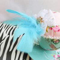 Teacup Pincushion - handmade, floral, birds and feathers novelty pincushion