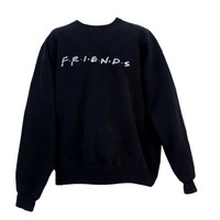 Vintage 90s Friends TV Show Promotional Sweatshirt Black Crewneck | Adult Extra Large XL | Logo, Warner Bros, Television