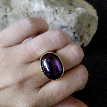 SALE! Amethyst ring,Chic large ring,oval gemstone ring,Big ring,February birthstone,thick gold ring