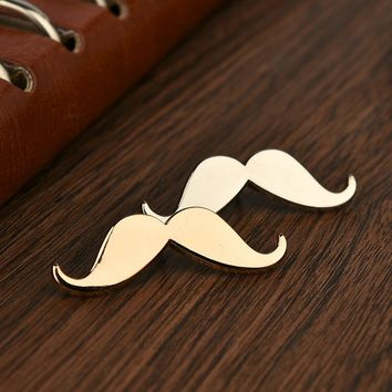 Fashion Metal Beard Shape Vintage Brooch For Men Gold Plated Mustache Collar Brooch for Wedding Suit Lapel Pins Mens Accessories