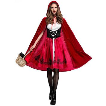 Cool XS - 3XL Halloween Little Red Riding Hood Costume Adult Cosplay Costume Party Dress Red Hat Night Club Queen Costume L1872752AT_93_12