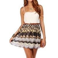 Ivory/Multi Color Thin Straps Dress