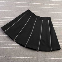 Zippers Decoration Gothic Rock Punk Harajuku Skirt Female Skirts A-Lined Fashion 2018 Summer High Waist