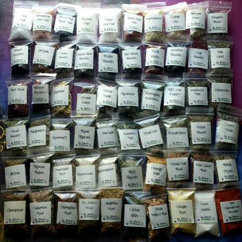 Choose Your Own Herbs, Resins, and Gums - Incense Kit - Wholesale - Up to 61 Different Herbs - 2x3 inch bags - You Choose Number- Customized