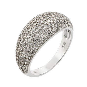 .925 Sterling Silver Rhodium Plated Pave Clear Cubic Zirconia Dome Ring: Size:5