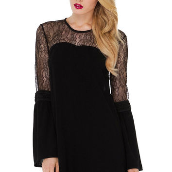 Black Flare Sleeve Lace Chiffon Dress